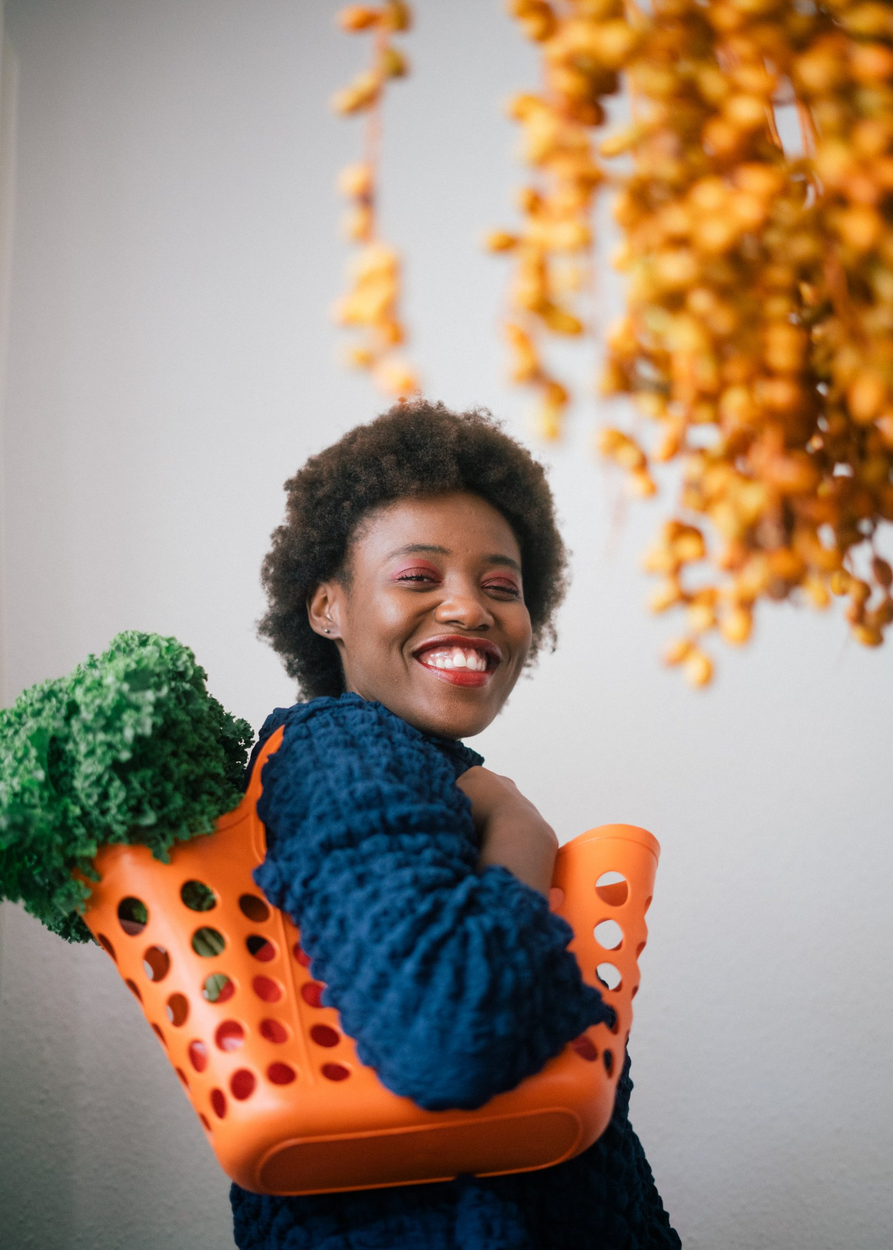 A young lady with groceries
